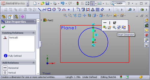 SolidWorks 2008 context menu
