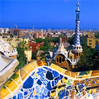 barcelona skyline gaudi mosaic