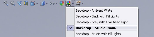 solidworks 2009 backdrop selection