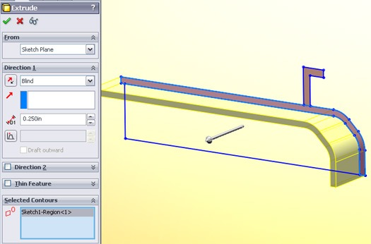 selecting and extruding contours in SolidWorks