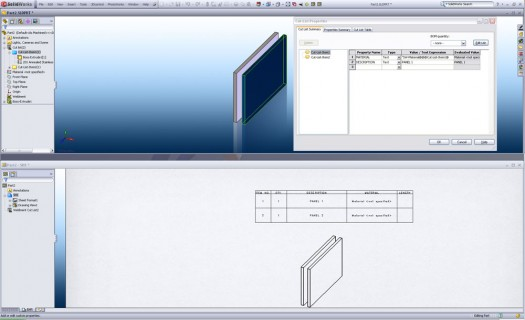 The Custom Properties set up in the Part correspond to the Cut List BOM created in the Drawing
