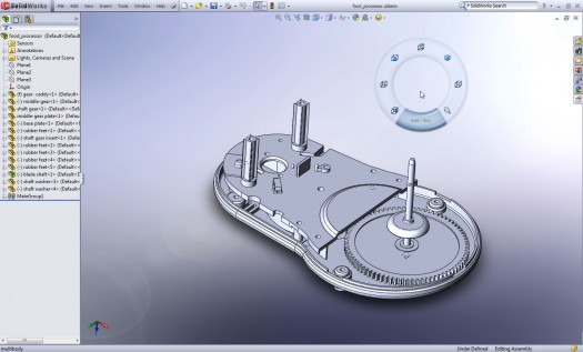 SolidWorks 2010 Circular Mouse Gesture Menu - Activated with a right-click/slide movement. Comes in 4 or 8 gesture flavors.