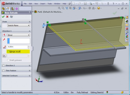 Deselecting Merge Results when extruding a sketch allows you to create multiple bodies in a part