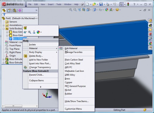 To add materials to multibodies, simply right-click the Body and select Edit Material.