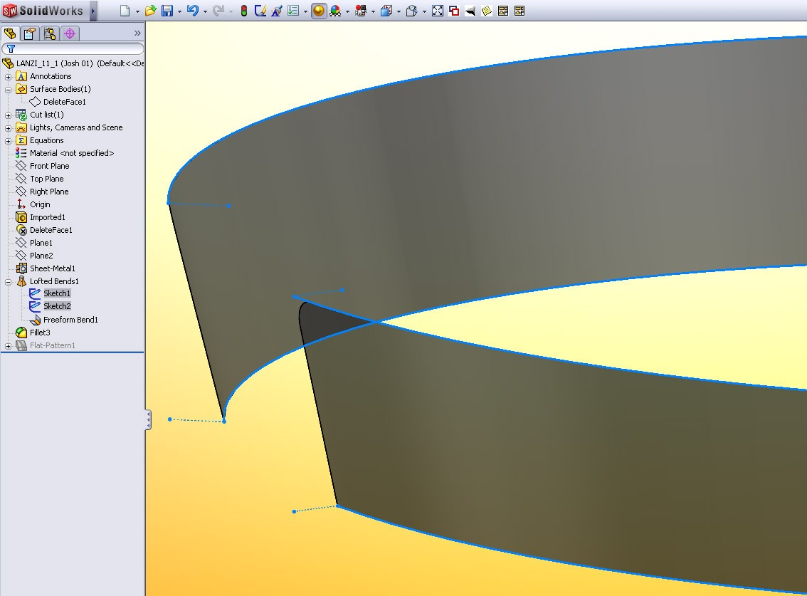 Flattening a Non-linear Conical Surface in SolidWorks  Is it