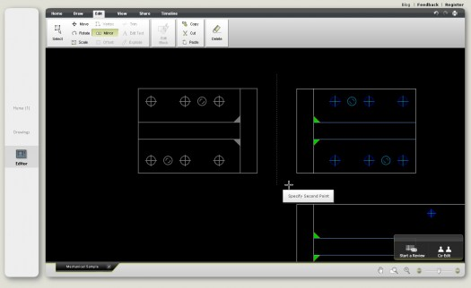 Mirroring objects in Butterfly. Much like in AutoCAD. You have snaps, function keys and the typical workflow.