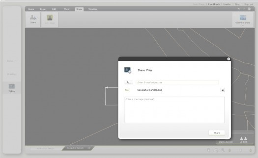 The share screen. Invite others (via email) to co-edit the Autocad drawing with you.