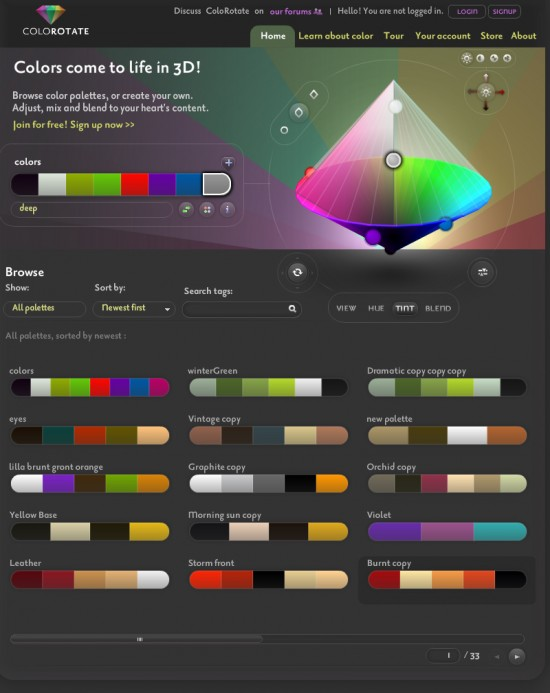 With Colorotate you can choose between color palettes or create your own.