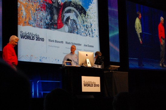Dunn, Biosotti and Schneider on stage demoing SolidWorks on a Mac and Touch device.