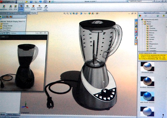 SolidWorks 2011 bring in visualization enhancements which allows you to preview Photoview 360 rendering inside SolidWorks.