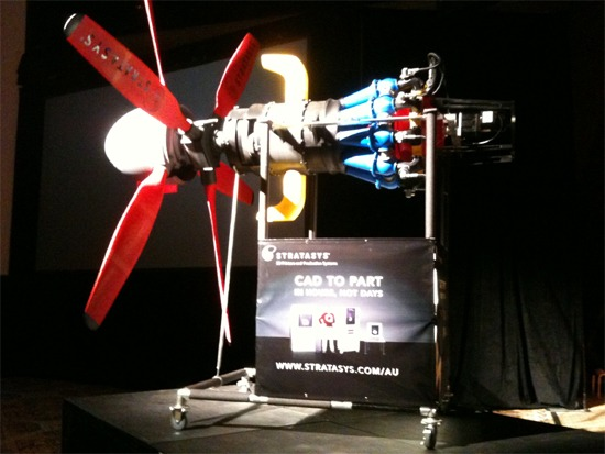 The 3D print of the aircraft engine at Autodesk University 2009, December. Designed by Nino Caldarola.