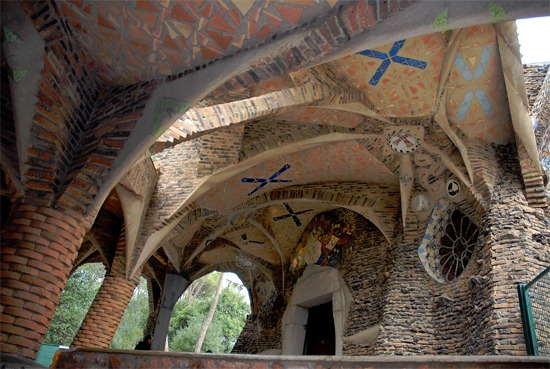 Colònia Güell outside of Barcelona, Spain. The Crypt of the Church of Colònia Güell was 'modeled' by Gaudi using small bags of sand suspended from string in 3-dimensional space.