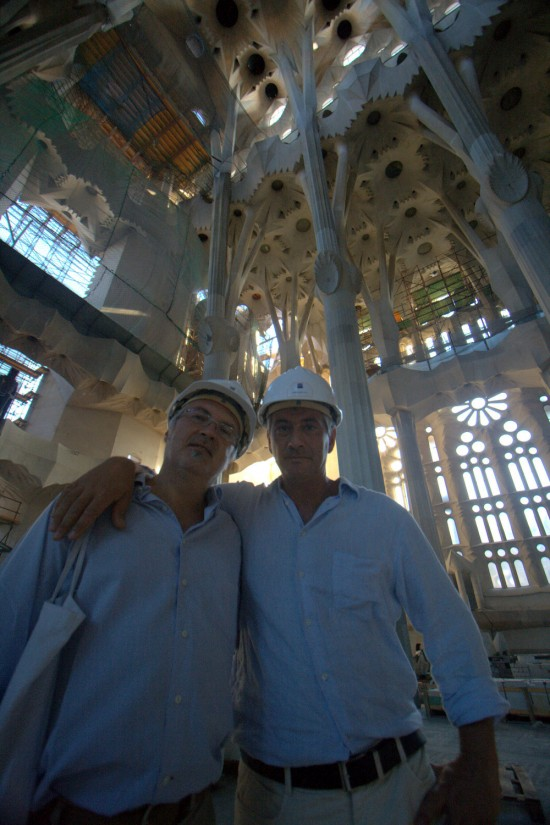 Gianluca Miele and Enrico Dini (right) inside the La Sagrada Familia in Barcelona, Spain