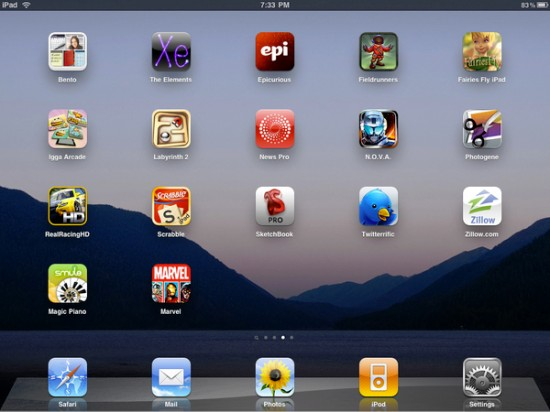 The iPad app screen showing Sketchbook Pro smack dab in the middle of other goodness.