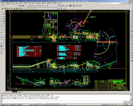 The workflow inside AutoCAD for a car shredder system at Metso Texas Shredder (Click to Enlarge)