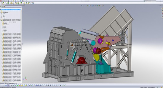 The workflow inside SolidWorks for a car shredder at Metso Texas Shredder (Click to Enlarge)