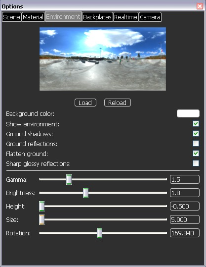 KeyShot Options - Tabs for setting up Scene, Material, Environment, Backplates, Realtime and Camera