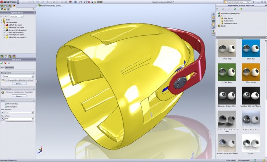 The SolidWorks 2011 DisplayManager. Consolidates the appearance, scene, lighting and camera setting, plus brings in PhotoView360 options and walk through capability. (Click to Enlarge)