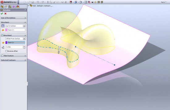 The new revolve enhancments allow revolving up up to surface, offest from surface and up to a vertex. (Click to Enlarge)