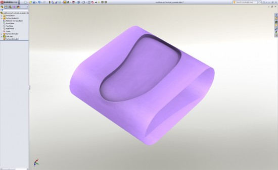 In SolidWorks 2011, you can select and surface extrude a 2D or 3D face. (Click to Enlarge)