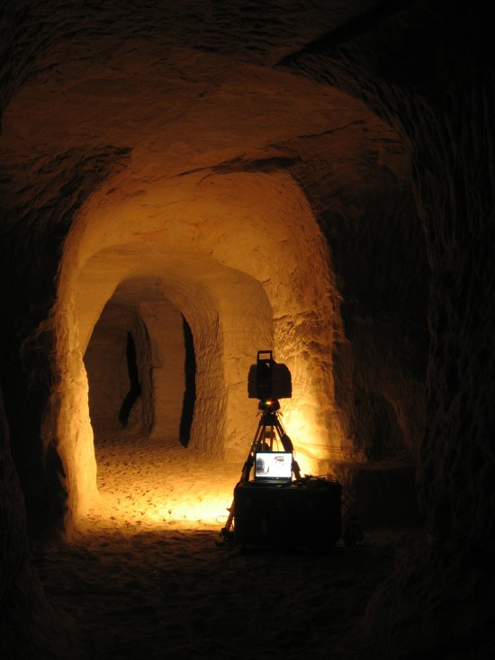 Scanning the cavern with the Leica HDS 3000 laser scanner.