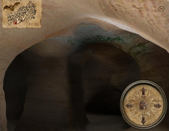 The final Piusa cavern VR interface with map, compass and guide.