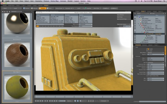 Applying material oclussion in the modo 501 interface. Lots of preset with their own Properties (Click to Enlarge)