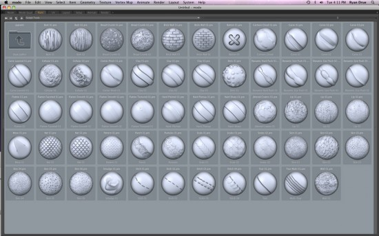 New sculpting brushes in modo 501. Fast and smooth polygon painting. (Click to Enlarge)