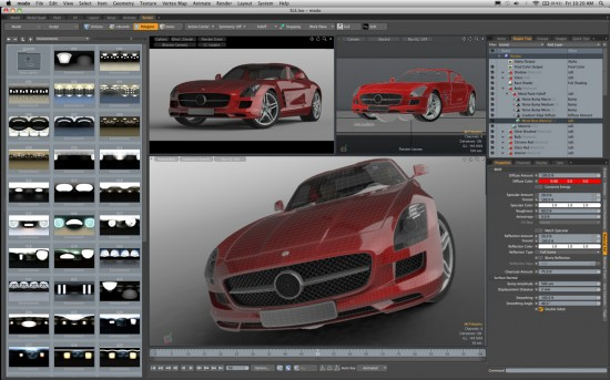 The udated modo 501 interface. RayGL dishing out more realism across viewports. (Click to Enlarge)
