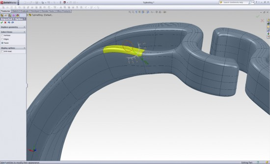 With tsElements for SolidWorks you have simple control over moving the surface. (Click to Enlarge)