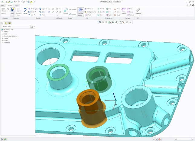 The part can be created and edited in the Creo Direct interface and then translated to Creo Parametric.