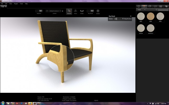 THe Raybrush allows you to speed up raytracing of the rendering in the area under the magnifying glass.