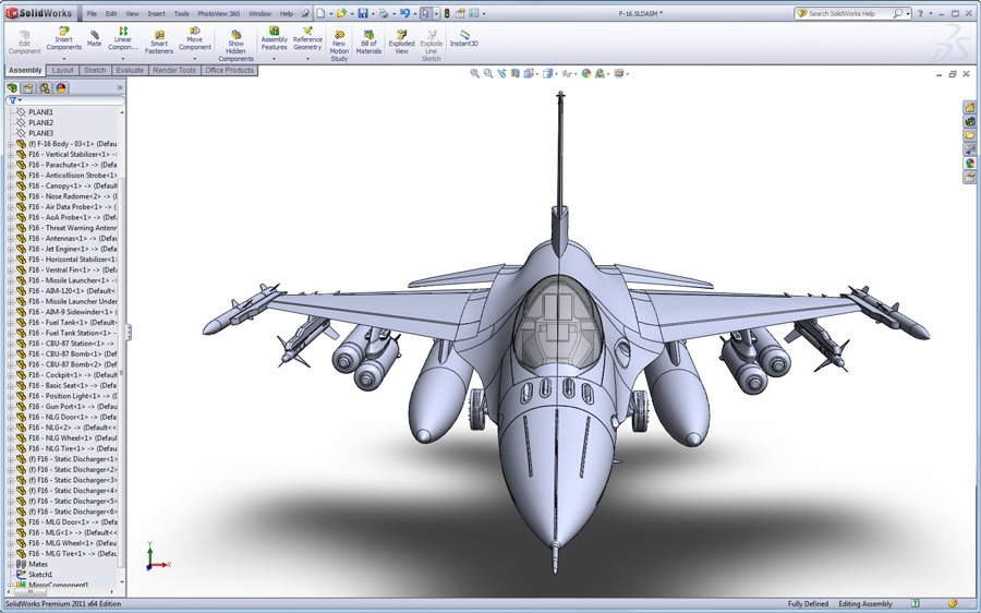 All New F-16 SolidWorks Surfacing Tutorial