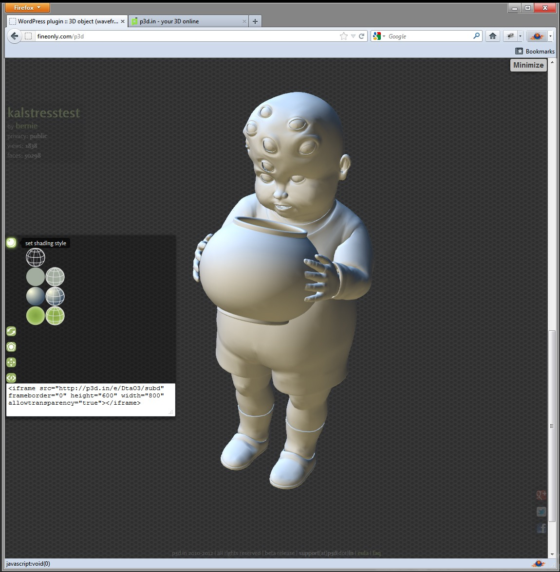 p3d wordpress plugin puts this eight eyed baby in 3d on