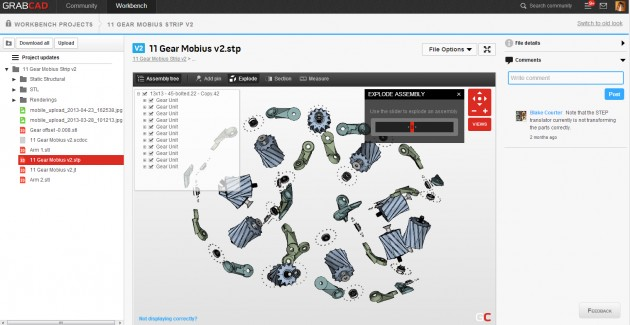 The Workbench interface showing the files, model tree, exploded view model and comments.