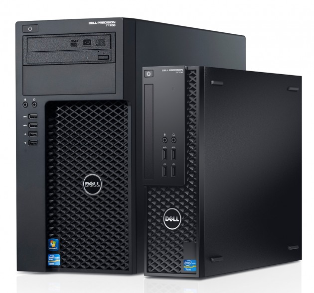 The Dell T1700 MT (on left) and the Dell T1700 SFF (on right).