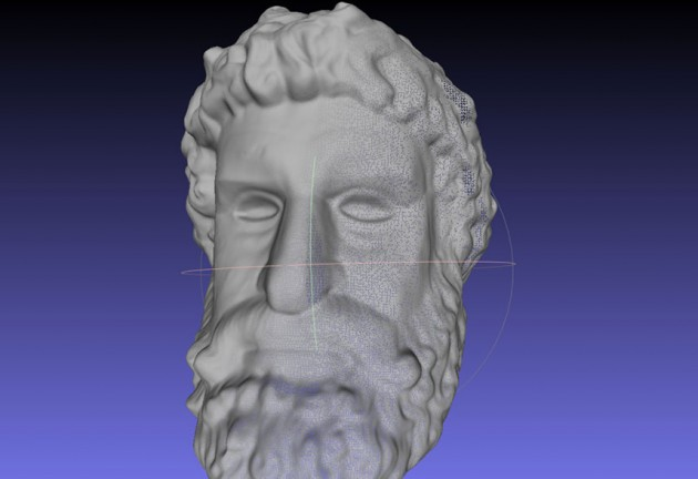 This sample demonstrates full 360 degree capture of a sculptured human head. A total of twelve 3D images of the sculpture were rapidly acquired using the hand-held Fuel3D scanner (no turntable necessary!), then cropped and exported to .PLY using the built-in features of the system. These scans were then globally aligned and re-meshed in the free Meshlab package. Download .obj, .ply or .stl here.