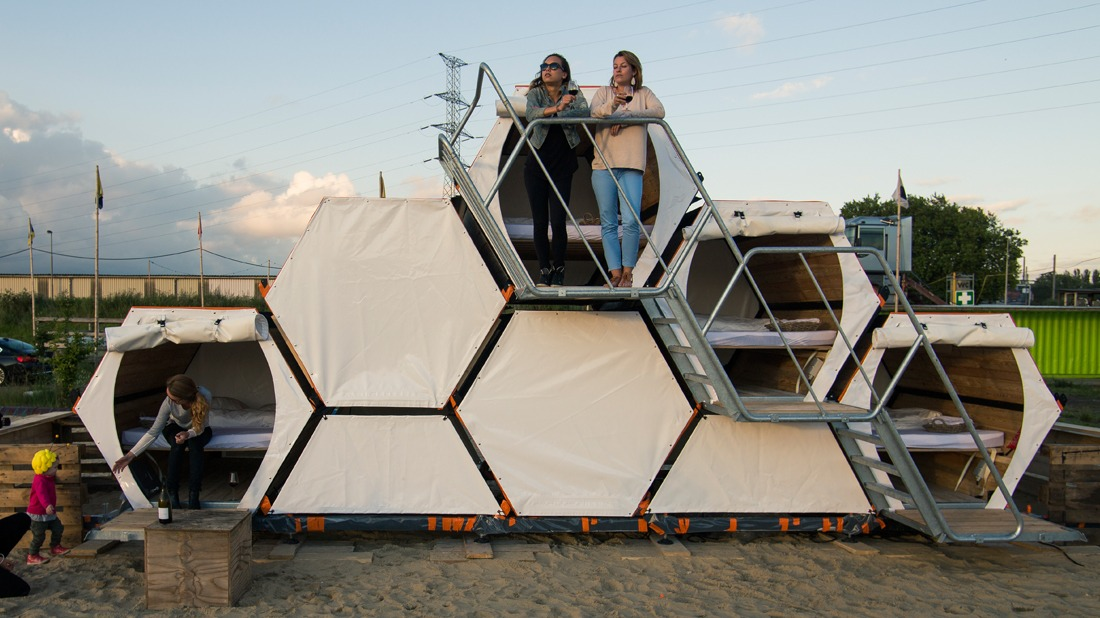 this beehive inspired sleeping pod system aims to redefine the music festival experience. Black Bedroom Furniture Sets. Home Design Ideas