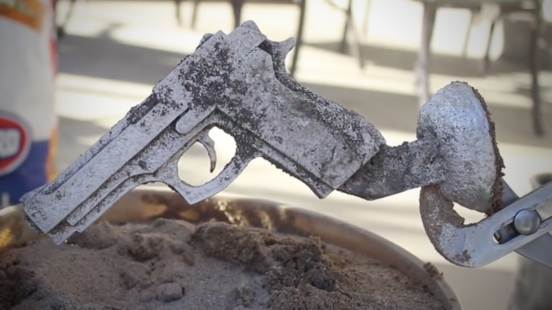 Backyard prototyping sand casting with foam core and for Aluminum can decorations
