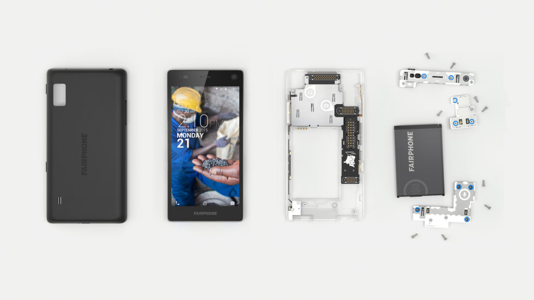 The Fairphone 2 broken down to its individual components, which can be easily swapped-out when damaged.