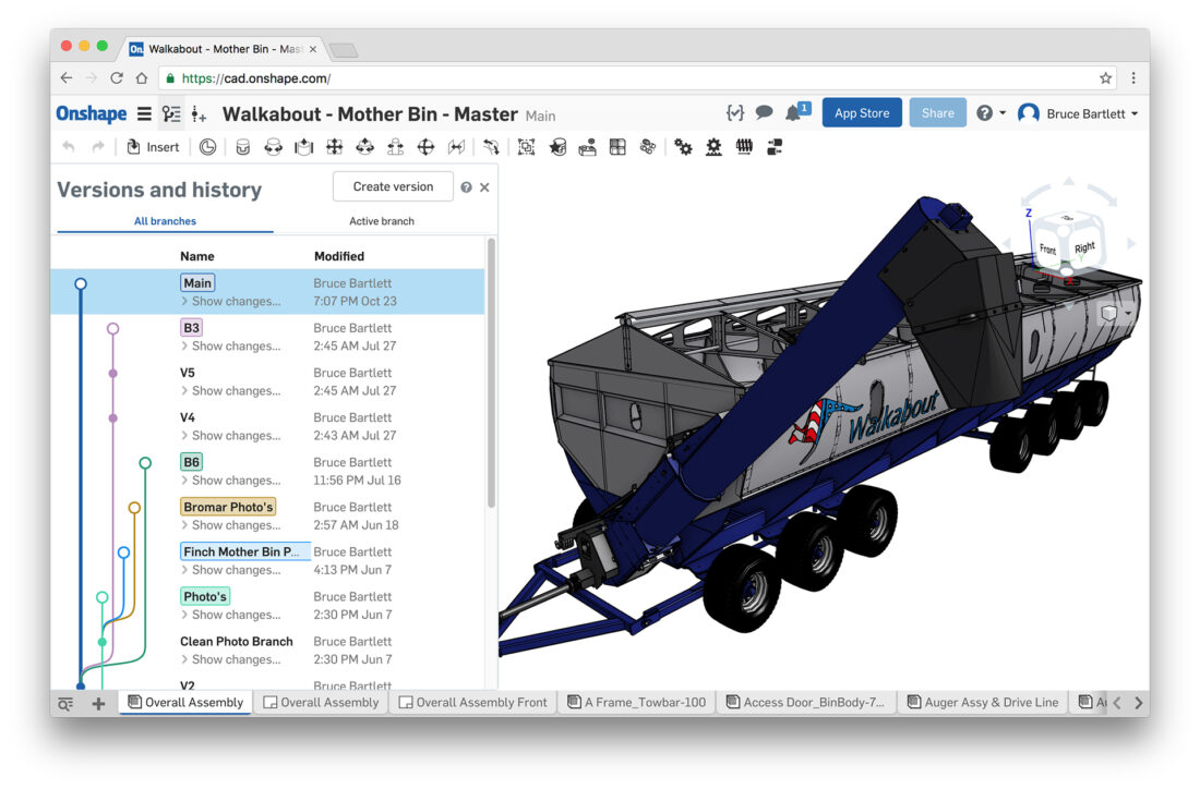 REAL-TIME DATA MANAGEMENT – To design a new mobile grain silo, Walkabout Mother Bins CEO Dave Hedt relied on Onshape to enable design team members in the U.S. and Australia to collaborate on the same CAD model in real time.
