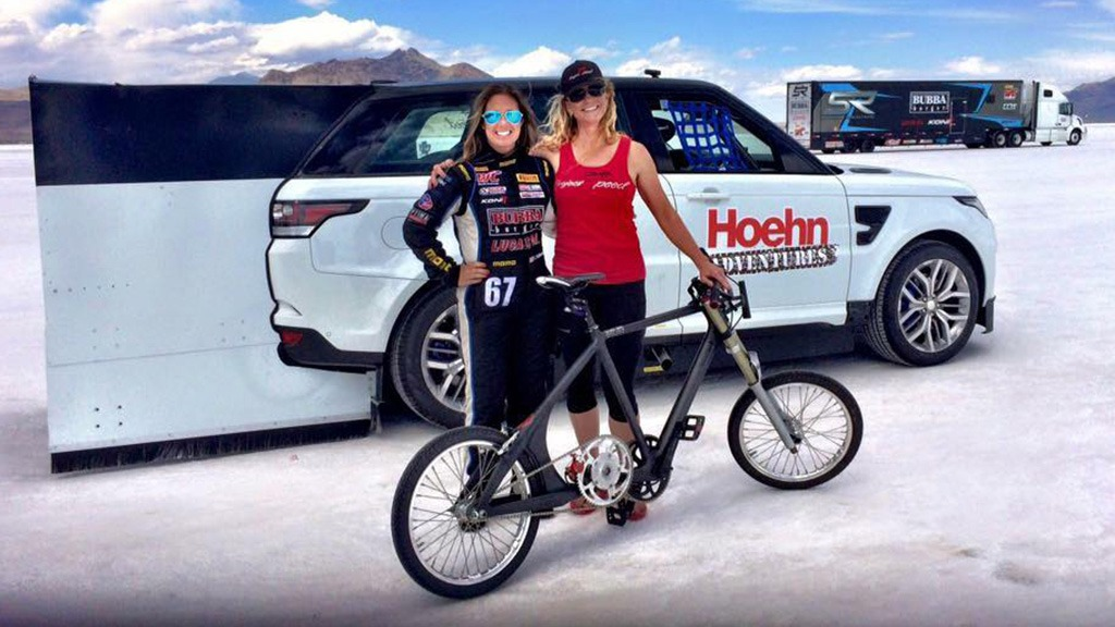 Denise Mueller hit the new record using a modified bike from SD Wheel Works, which features two massive 60-tooth chain-rings in a double-reduction system.