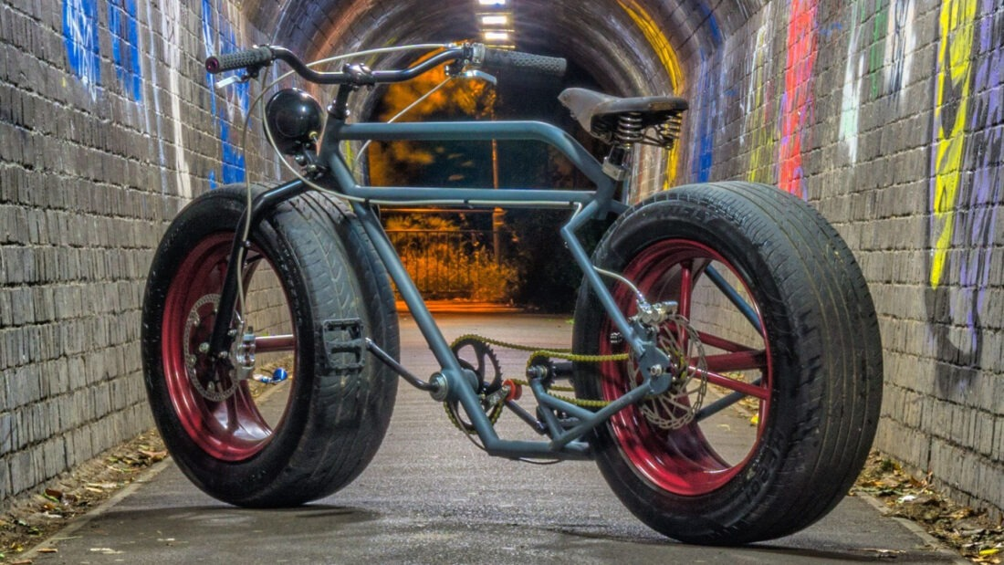 Not wanting to pay for car repairs, Mr-Mash chose to learn how to weld, which resulted in his amazing Car Wheel Bicycle.