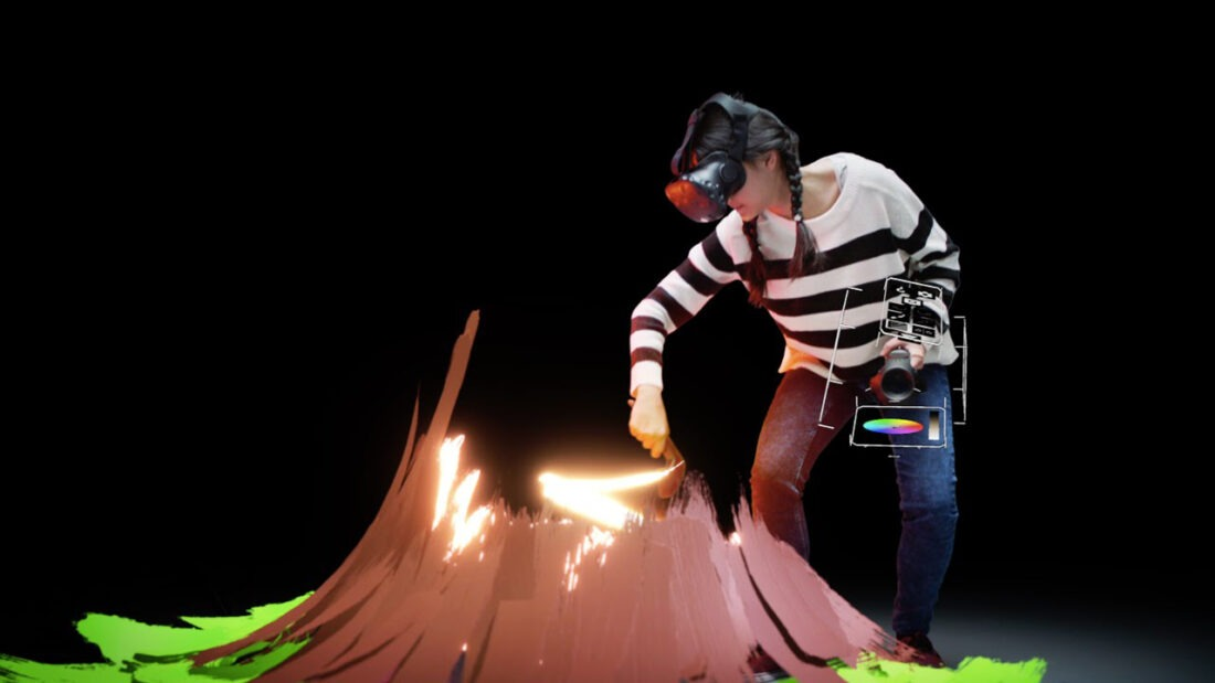 Google's Tilt Brush lets users design 3D objects in a virtual space using paint, textured materials and even fire.