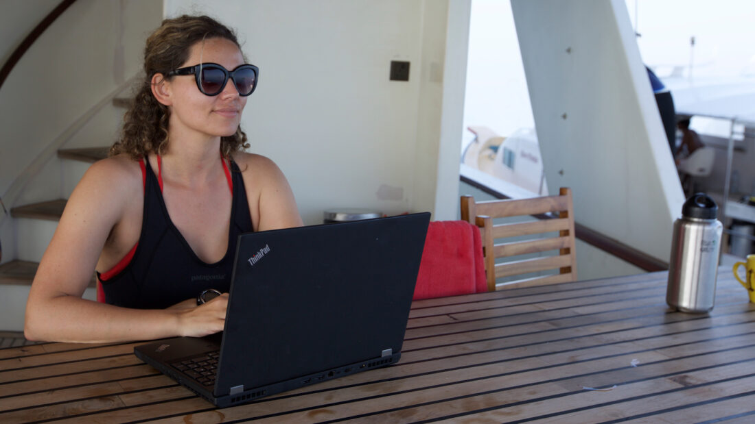 Erika using the ThinkPad P50 aboard the Theia during the most recent Hydrous expedition to the Maldives
