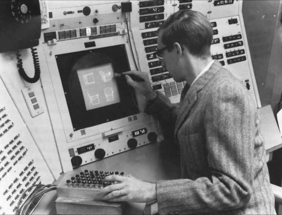 "Ivan Sutherland drawing on the ""Sketchpad."" 1960s"