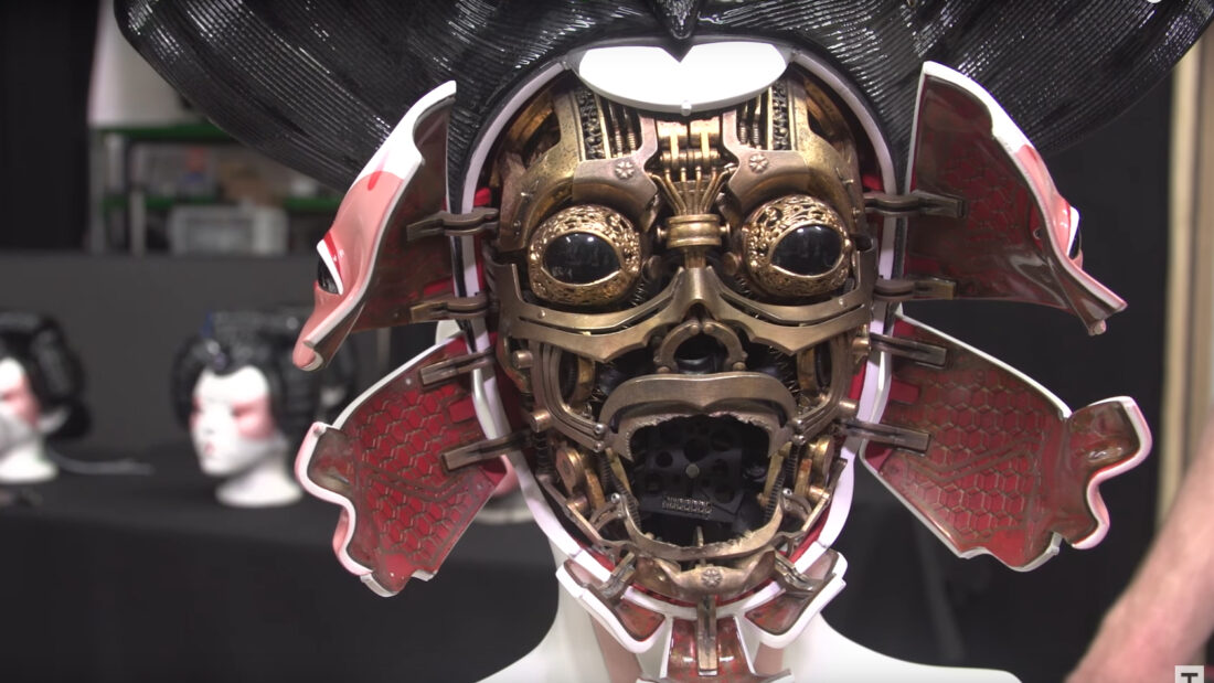 Some of the masks feature animatronics that utilizes servomotors to open and close the face portion while the inside features actual rotating gears to give it a sort of steampunk look. Image: Tested