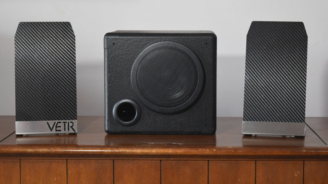 VETR Speaker System including Subwoofer (they could have used a nicer cabinet for the shot, yes?)