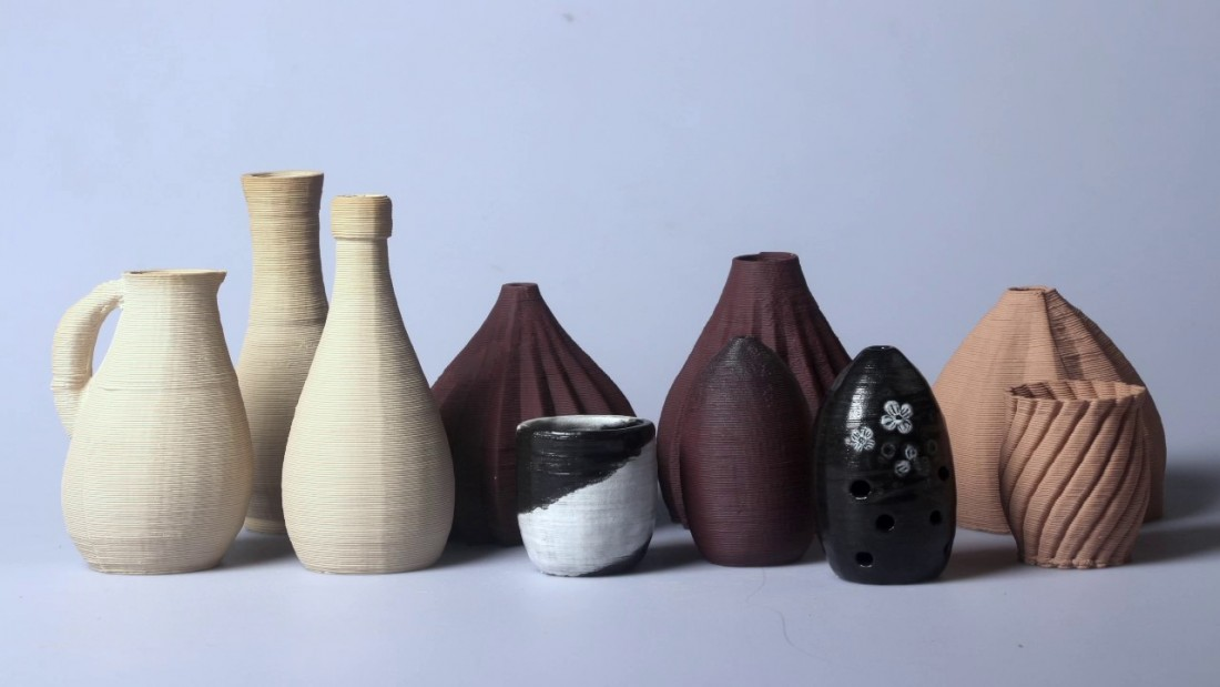 Some sample vase prints from the ClayXYZ 3D clay printer