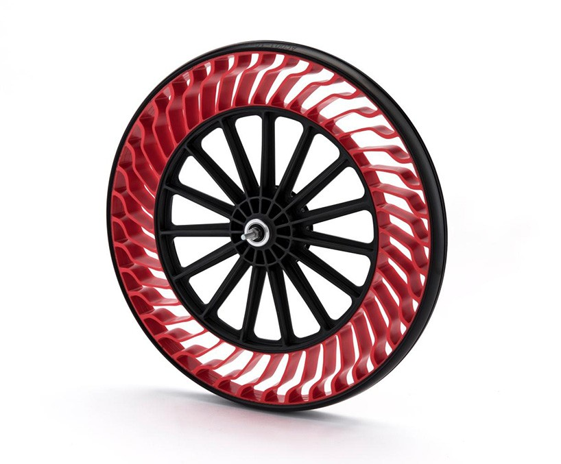 The uniquely designed resin spokes allow for uniformity and won't deform while riding. (Image credit Bridgestone)